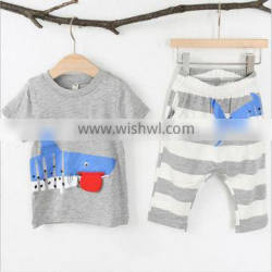 Children summer cartoon shark 2 pieces sets kids boys clothing tops and striped pants online kids clothing store