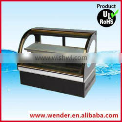 Arc style golden frame counter top commercial cake display chiller