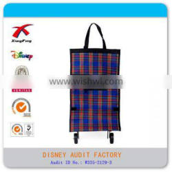 Customize foldable shopping bag, folding shopping bag with wheels