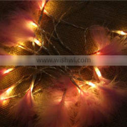 Pink Fairy Feather Wedding and Room Decoration LED String Light