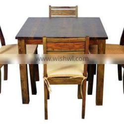 Indian traditional wooden dining table set with cushion chair