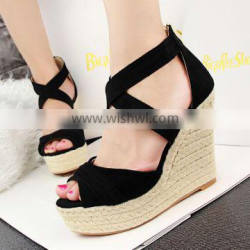 New platform high wedge heeled women summer sandals wedges single shoes woman open toe wedge sandal slippers size 35-43 Quality Choice
