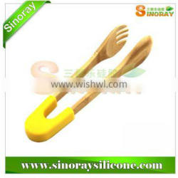 Multi-function Silicone & Bamboo Tong