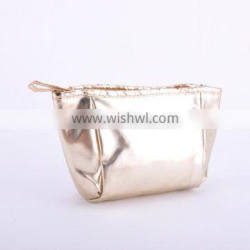 Personalized Gold PU Cosmetic Bag With Compartments