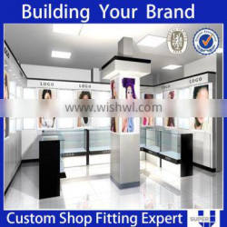 tailor made lighting wooden cabinet display for cosmetic shop