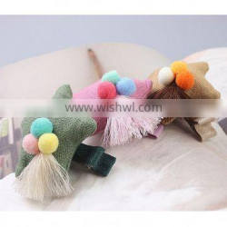 Fashion colorful sequin cotton fabric star shape hair clips for kids