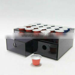 brown color acrylic coffee capsule display with drawer
