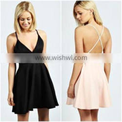 Sexy sleeveless V-neck latest dress designs with back cross strap,wholesale women clothing.