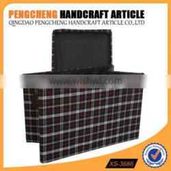 Household fabric stripe foldable storage box with a cover on it