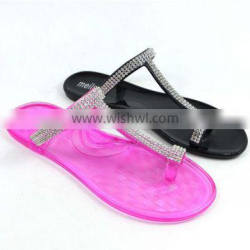 Have Stocks PVC jelly lady slipper with diamond,transparent sole,best selling style 2013