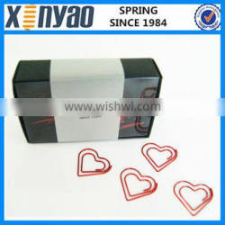 hight quality promotional gifts with paper box custom logo metal red heart shape paper clips