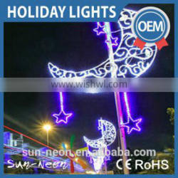 Outdoor Christmas 3d Moon Motif Light Christmas Street Decorative 3d Motif Light