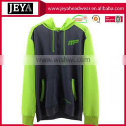 Young girl embroidery printing neon yellow hoodies with zipper front