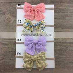 New Coming Fabric Bow Headband for baby Cheap Colored Hair Bows Hairband