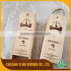 Wholesale wine single bottle wooden box with metal lock