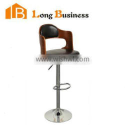 LB-5004 New design wooden seat bar stool chair with metal base