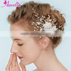 Jewelry Accessory Headband Enchanted Floral Bridal Hair Vine Floating Pearl Hairgrips Convertible Hair Vine Women Headpiece Prom