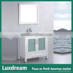 White high gloss vanity combo with glass top bathroom cabinet