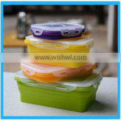 FDA Grade Portable Silicone Foldable Lunch Box,Microwaveable Plastic Storage Containers