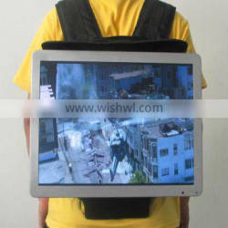 21.5 inch wall mount wifi 3g android backpack advertising display/ andriod backpack digital signage advertising software