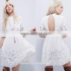 High quality short sleeve back open navy lace dress, tee lace dress