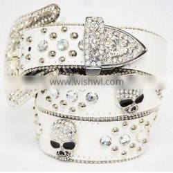 White PU rhinestone belt with alloy buckle
