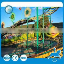 Hot selling worm roller coaster ride!!! China manufacture amusement park mini roller coaster for kids