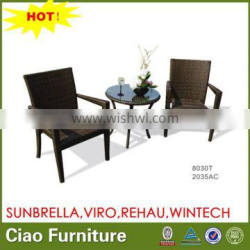 OUTDOOR RESIN RATTAN TABLE SET WITH 2CHAIRS