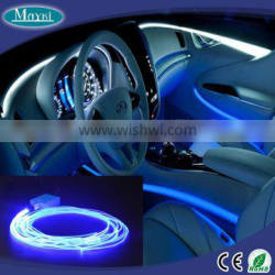 Ambient interior led light with RGB color changing and fiber optic side emitting cable