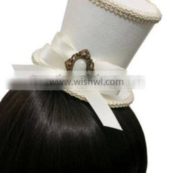 White and Ivory Victorian Steampunk Wedding Genuine Sheep Leather Top Hat