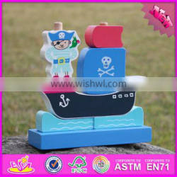 2017 new design pirate boat shape wooden stacking toys for 1 year old W13D134