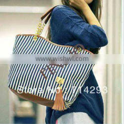 2015 fashion new women's canvas tote zipper bag with tassel heavy standard size canvas tote bag 3998