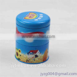 Round three recrclable tin can manufacture new design three- layer gift tin box