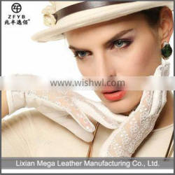 2016 Hot Sale female sexy leather glove with lace