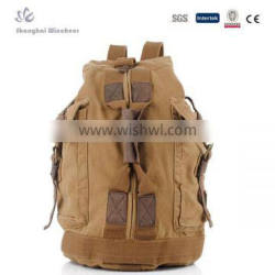 2015 hot sell Men's cool khaki canvas backpack for camping and hiking