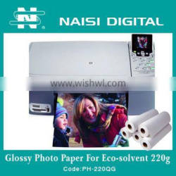 220gsm High glossy inkjet waterproof photo paper for ECO solvent
