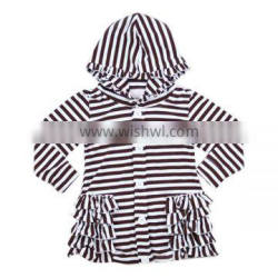 2016 kaiyo oem service long sleeve cotton stripe ruffle top ruffle coat with hat baby girls top design children clothing 2016