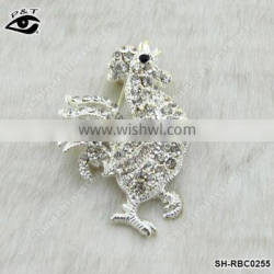 Rhinestone Brooch Cook Rooster Shape Brooch pin for clothing garment dresses