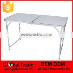 450111 Adjustable Folding Trestle Table Picnic With Portable Carrying Handle 4ft