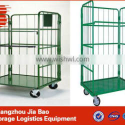 workshop logistics hand trolley/wire mesh cage trolley warehouse storing trolley