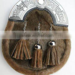 Scottish Full Dress Seal Skin Sporran With Celtic Design Cantle Made Of Leather Material
