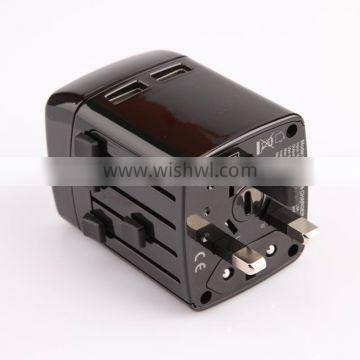 Universal International Travel Adapter Charger with dual usb ports 2.5A for promotional gift