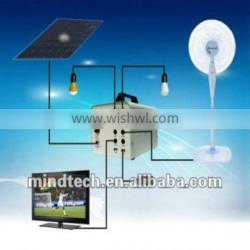 solar home power system and solar energy generator to 12v led bulb and DC fan charged by sunlight