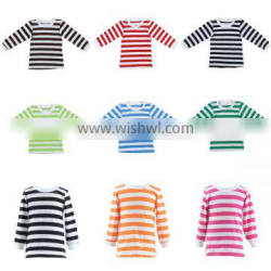 Wholesale 2016 striped body and solid white trim on neck and sleeve cute baby boy clothing
