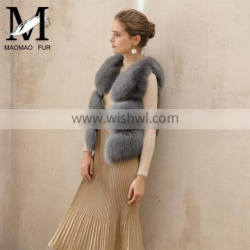 Hot Selling Luxurious Women Vest Winter Real Fox Fur Vest With Trimming Fox Fur Jacket