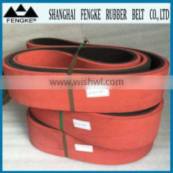 Red Rubber Coating Multi Ribbed Belts