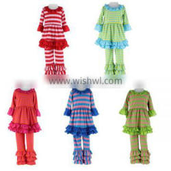 Wholesale 2016 Children's Boutique Clothing Kids Clothes stripe Ruffle Pants Set Spring And Fall Clothing For Baby Girl