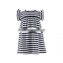 Latest design wholesale fashionable stripe dress little baby girls dress cotton baby girls dress