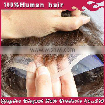 Natural color indian remy hair bleach in front natural looking toupee for black men