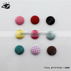 500pcs 15MM Semicircle Polka-dot Printing Covered Buttons Flatback Fabric Button Accessories for Craft